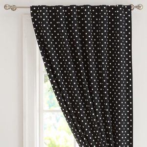 Pottery Barn polka dot window panels